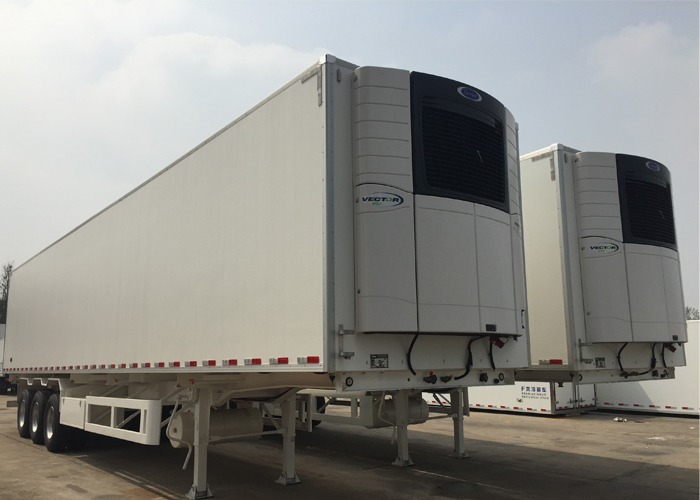40FT 3 axles Refrigerated Semi trailer with Carrier Refrigerator units and single tire for freezing and fresh cargos,Refrigerator Trailers