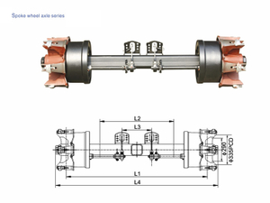 German Type Axles Spoke Wheel Trailer Axle 8T-20T