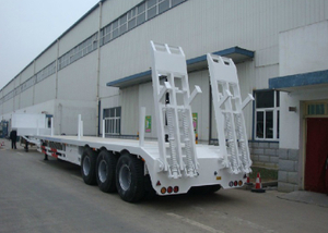 14m to 17m Deck Retractable Low Bed Semi Trailer with 3 axles for long and heavy cargos,Low bed Trailer