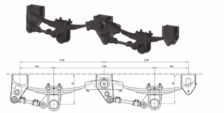 American Tandem suspension 11T*2 Grade with taper leaf Spring
