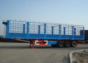 13m Drop Side Trailer 3 Axles with Side Wall And Cargo Fence for Bulky Cargos,Platform Semi Trailer