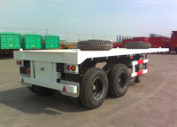 2 BPW Axles Flatbed Semi Trailer For 20 Feet Heavy Loaded ISO Container