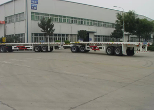 80ft Draw Bar Double FlatBed Semi Trailer Train with 1 Flatbed Trailer And 1 Draw Bar Trailer